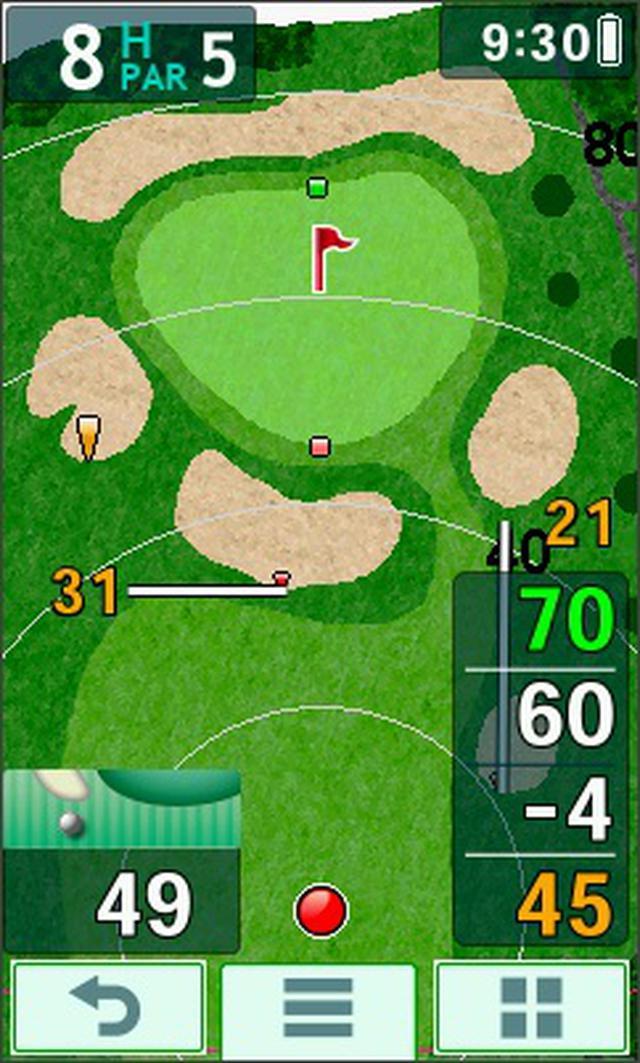 画像: 第3打のナビ画面。レーザー飛距離計測器で測った情報とほぼ同じ情報が瞬時に画面に表示される。まるで上空からドローンで見ているような感覚でプレーが可能
