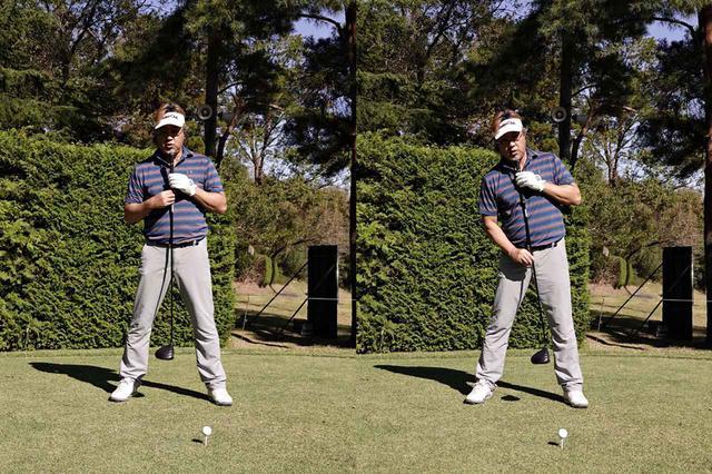 画像: 体の軸を少し右側に傾ける(右)ことで、自然とインサイドからアッパー軌道でボールをとらえることができる