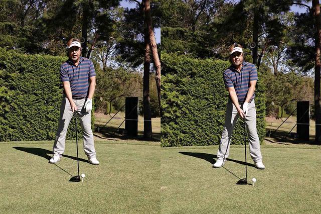 画像: 左足かかと線上(左)よりももう少し左寄り、左足前にセットする(右)
