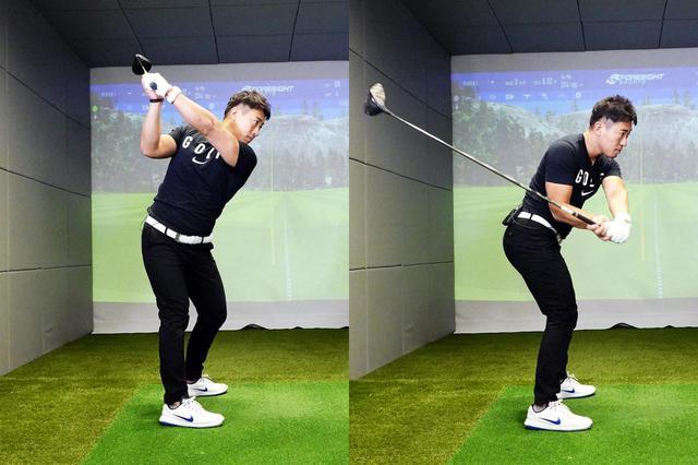 画像: ジョージ・ガンカス・ゴルフにおけるトップからダウンスウィングにかけての動き。下半身が先行して回転することで、自然とシャフトが後方に倒れてくる