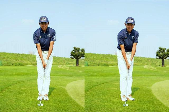 画像: 両足を揃えてボールが体の中心に来るように構えたあと、両足のつま先を30度左に向ける。これでピッチ&ランのアドレスが出来上がり(撮影/田中宏幸)