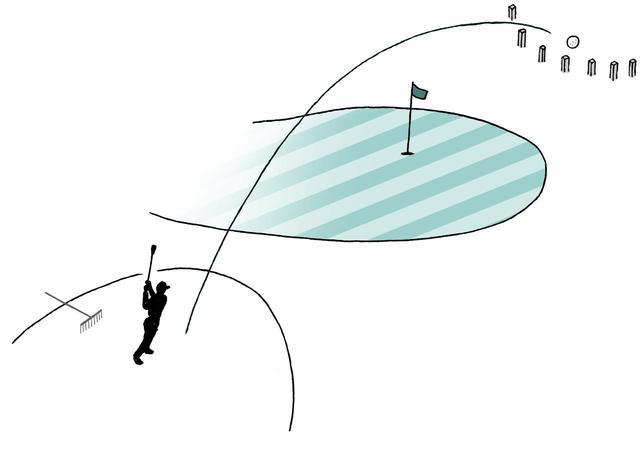 画像: きれいに砂をならしたうえで、直前に打った位置から1クラブレングス以内 (ホールに近づかない)にドロップして1罰打を付加して次打に臨むべし。