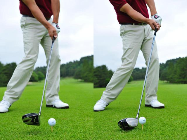 画像: 正しいインパクトのイメージ(左)とスライスのインパクトイメージ(右)。スライスの主因は、フェースが開くことにある(撮影/有原裕晶)