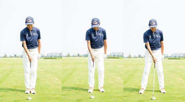 画像: ボールを中心にして立ち、片足ずつ肩幅程度まで開く