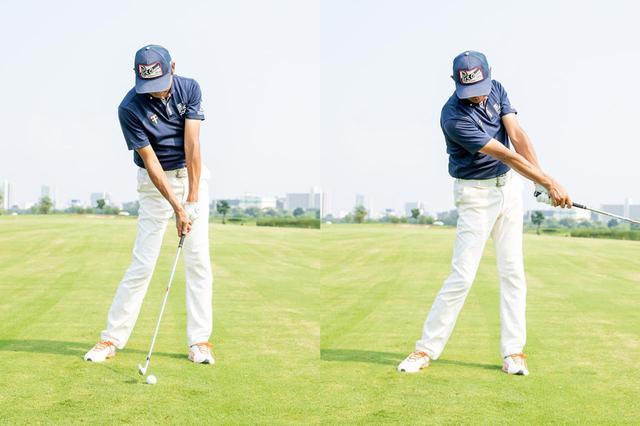 画像: インパクト時の頭のボールの位置関係を維持したままフォロースルーに入ろう