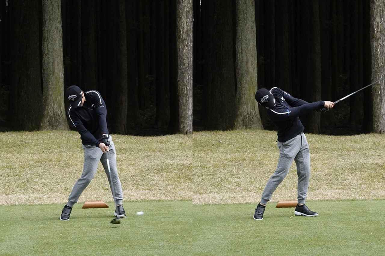 画像: 画像B:インパクト(左)では腰の位置はスタンスの真ん中で左への移動は少なく、フォロー(右)では左足を止めずに回転力を高める