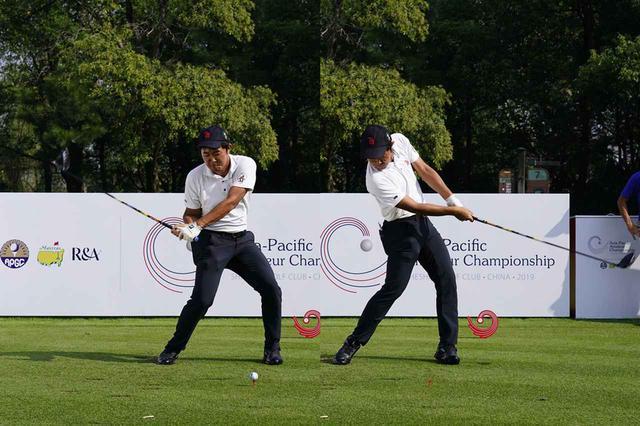 画像: 手首を返す動きは取り入れず、ボールを押し出すように振っていく(写真は2019年のアジアパシフィックアマチュア選手権練習日 撮影/岡沢裕行)