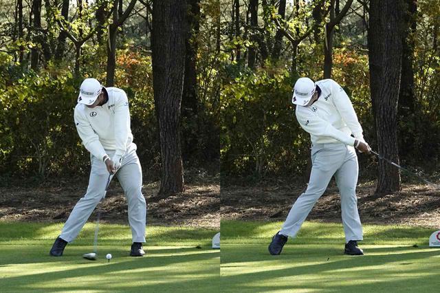 画像: 下半身で押し込む力強いインパクトだが、腕に力感は感じられない