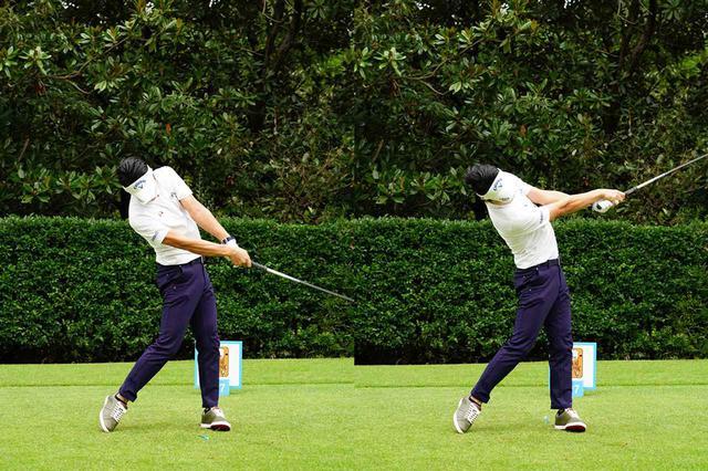 画像: 「両ひざが横(飛球線方向)に流れ、重心も高い」と話す昨年のインパクト(写真は2018年のトップ杯東海クラシックプロアマ 撮影/姉崎正)