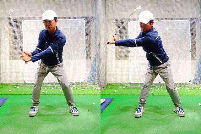 画像: タメを作ろうとして腕と体の距離(半径)が近くなると効率よくスピード上げられない(左)。対して右は手元を体から遠ざける方向にクラブを引くことでクラブの運動量が増え十分に加速できるようになる
