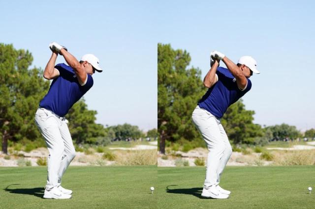 画像: トップ位置で左手首を手のひら側に折る「掌屈」という動きが入る(写真は2019年のシュライナーズ・ホスピタルズ 撮影/姉崎正)