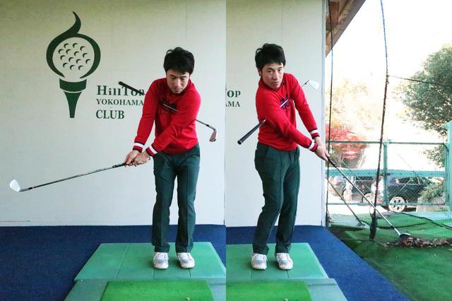 画像: 両脇にクラブを挟みスウィングする練習法。手先ではなく胸郭を動かすことでクラブを振っている