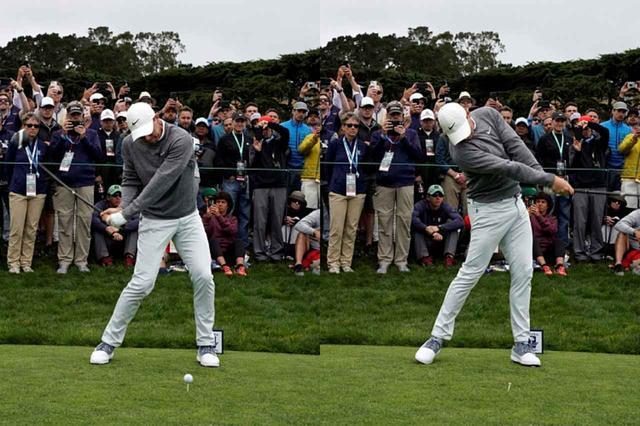 画像: 肩を縦に回し、インサイドからボールを捉える(写真は2019年の全米オープン 撮影/服部謙二郎)