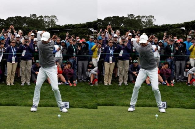 画像: 切り返しで左側に大きく踏み込む(右)ことで、クラブをシャローな軌道に乗せている(写真は2019年の全米オープン 撮影/服部謙二郎)