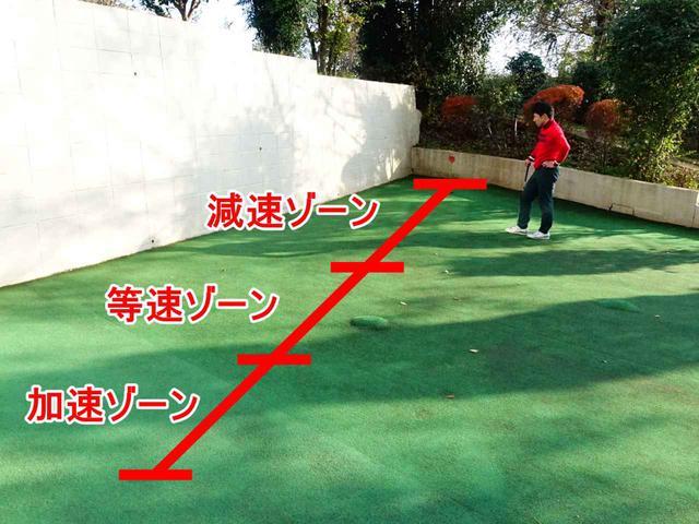 画像: ラインを読む場合はカップまでの距離を三等分して、原則ゾーンの傾斜を重点的に見よう