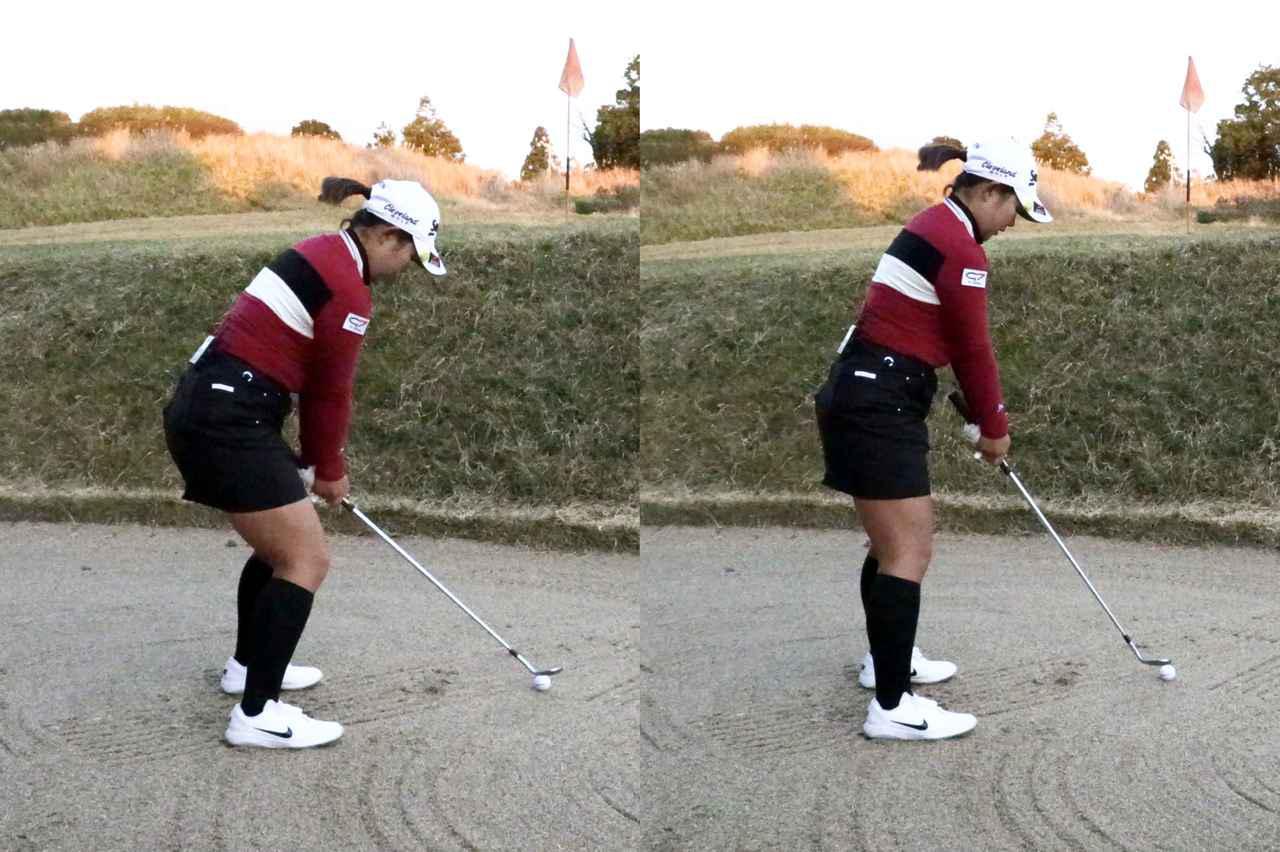 画像: ハンドダウンの構え(左)とハンドアップの構え(右)。左のような構えで打つと、バウンスが跳ねてかえって飛び過ぎてしまう可能性がある