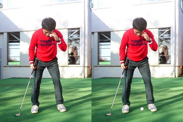 画像: 左目の位置からボールを落とす原田。カンタンに左目の真下の位置を把握することができる