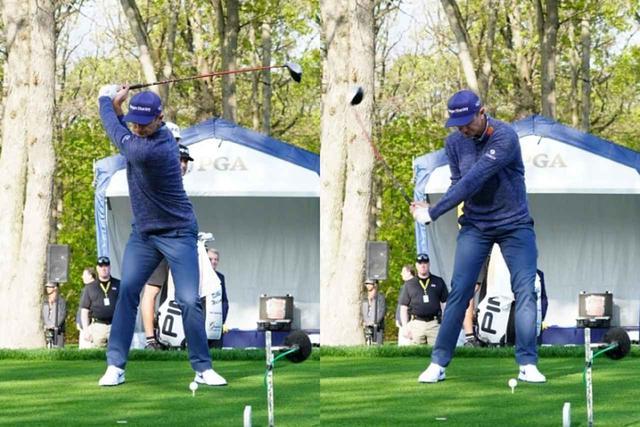 画像: 写真A:トップから切り返しで、体が左側へ大きくスライドしている(写真は2019年の全米プロゴルフ選手権 撮影/姉崎正)