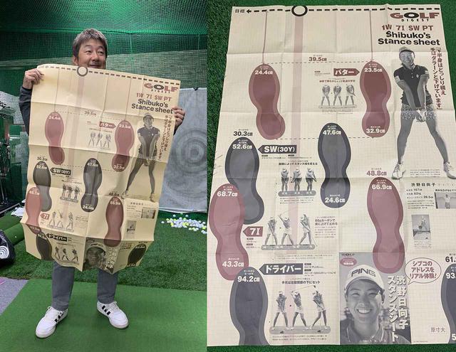 """画像: 「ボール位置が遠い!」渋野日向子の""""実物大スタンスシート""""を体験しておじさんゴルファーが気づいたこと - みんなのゴルフダイジェスト"""
