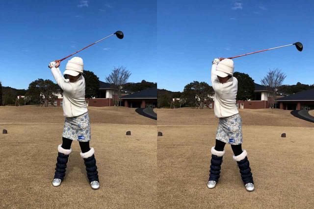 画像: 画像A:写真右が通常の振り幅。寒さで肩の可動域が狭まると写真左のように振り幅が狭くなり、当然飛距離は落ちる