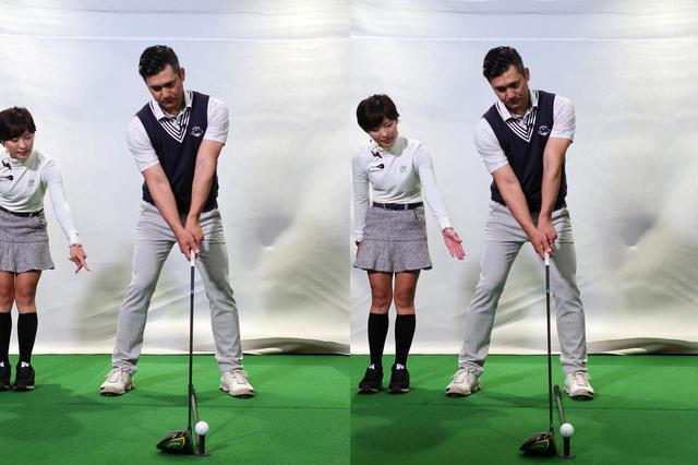 画像: 元々かなり体の中心寄りにあったボール位置(左)を左足内側のかかと線上あたりまで左寄りにセットした(右)