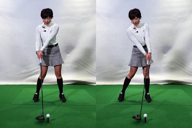 画像: ボール位置が体の中心寄りだと手首のリリースを早めないと当たらないが(写真左)、ボール位置を左寄りにすることで手首のリリースを遅らせ、タメをつくり飛ばすことができる(写真右)