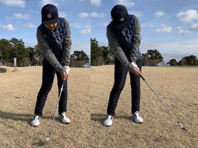 画像: ハンドファーストで打てれば良いのですが、右のようすくい打ちになると手にティが食い込みます