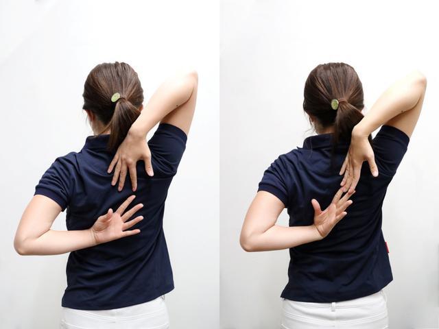 画像: 左が施術前、右が施術後。肩甲骨まわりは柔らかくなった実感があります