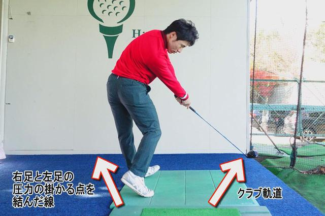 画像: 写真C:ダイナミックエイミングを目標より左側を向けた状態で、インサイドアウト軌道で振ってインパクトすると効率よく飛距離を伸ばせる