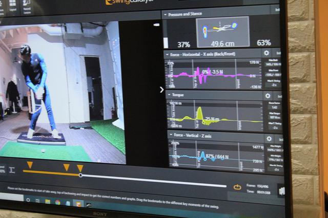 画像: 画面右下部分に表示されたのが「ホリゾンタル(紫色グラフ:横への体重移動)、「トルク(黄色グラフ:回転力)」、「バーティカル(青色:垂直方向への荷重)」。3つのグラフで体の使い方やクセの傾向がさらに具体的にわかる