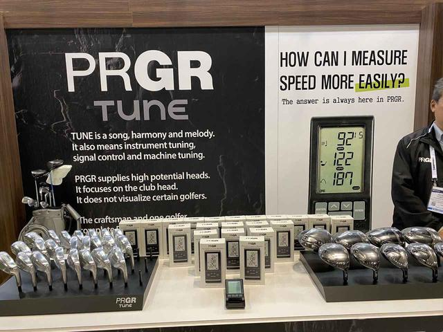 画像: 同社で人気の計測器「RED EYES POKET」それに続けと展示されているパーツ販売専用ブランドPRGRTUNEのヘッド。やはりアスリートからの反響が大きいそう