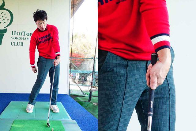 画像: 左手首を掌屈させインパクトするイメージ。ウィークグリップのゴルファーがスクェアなインパクトをするには必須の動き