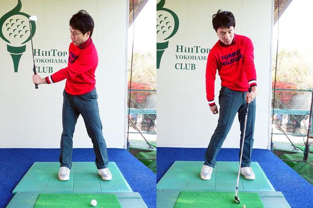 画像: ウィークグリップゴルファーにオススメの片手素振りの動き、左手首を背屈させながらクラブを上げ、ダウンスウィングからインパクトでは、左手の甲を掌屈させる。