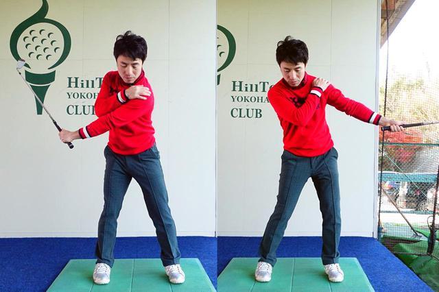 画像: ショートアイアンを使って左手1本で素振りをする練習法。ハーフスウィングの振り幅で左腕のターンを意識して振る