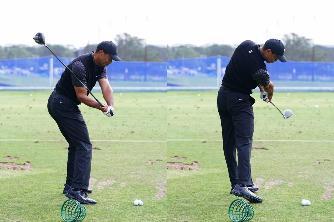 画像: (写真D)インパクト付近で、切り返しで沈み込んだ足を伸ばしながら左サイドを後ろへ引く動きでヘッドを加速させている