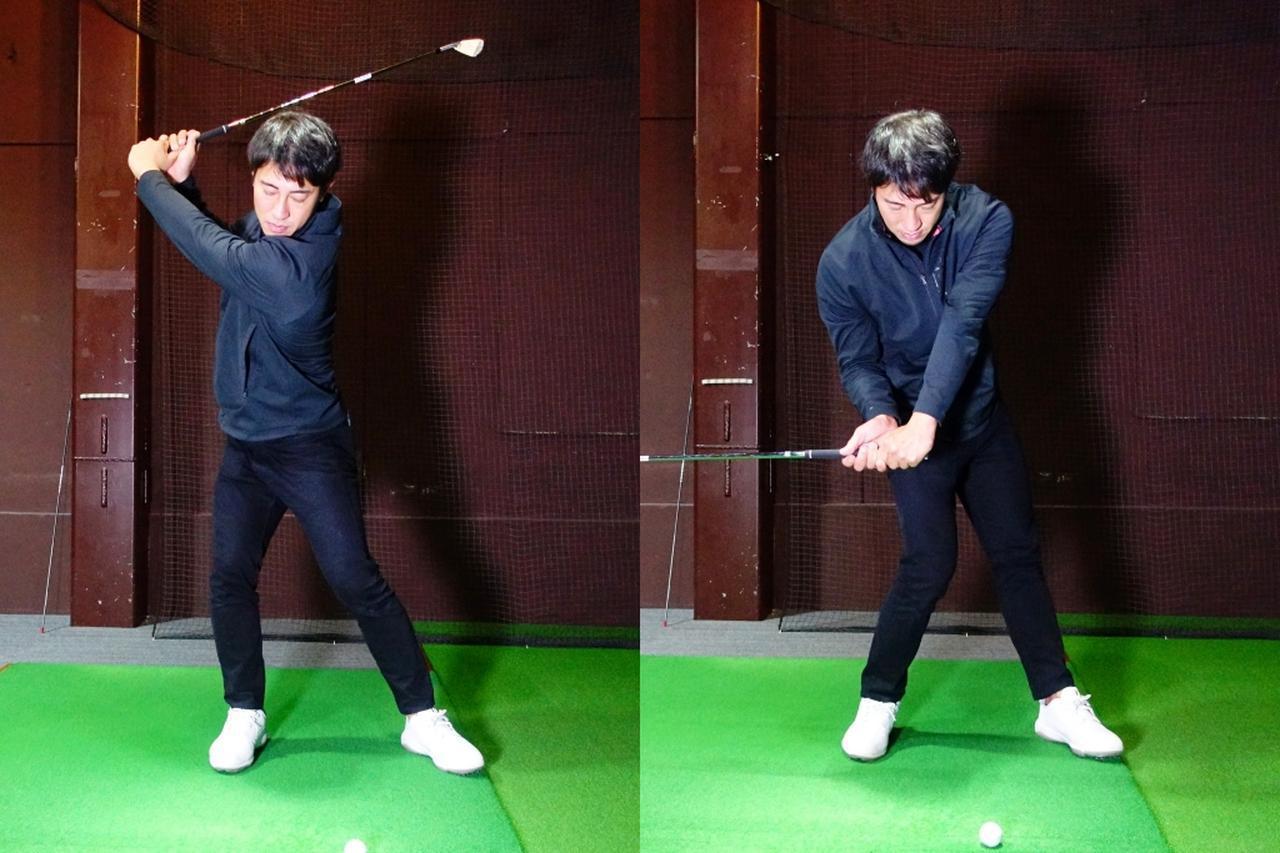 画像: 写真A:大西のスウィングはダウンで右足が内旋するタイミングがはやいため、得られる地面反力が弱まっていると指摘する藤本