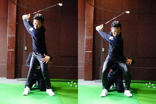 画像: トップから内旋(内回し)していた右足を外旋(外回し)へ。こうすることでダウンスウィング以降に大きく地面反力を使うことができる