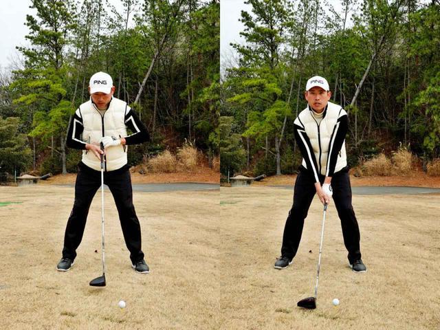 画像: 体の中心を意識してそこからクラブをボールの後ろにセットすることで体はターゲットと平行に構えられる
