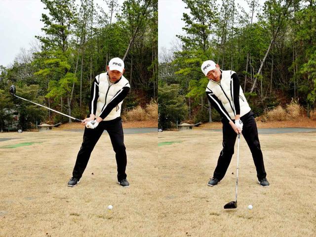 画像: ダウンスウィングで右肩が突っ込んだり体を傾けたりして修正しようとする動きが入る
