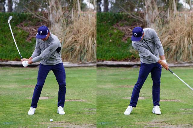 画像: 右のひざが内側に入らずアドレスで作った両ひざの間隔を保つ(写真左)。左ひざを伸ばす地面反力を使う動きでクラブを引く力を増大させる(写真右)(写真は2020年ウェストマネジメントフェニックスオープン 写真/姉崎正)