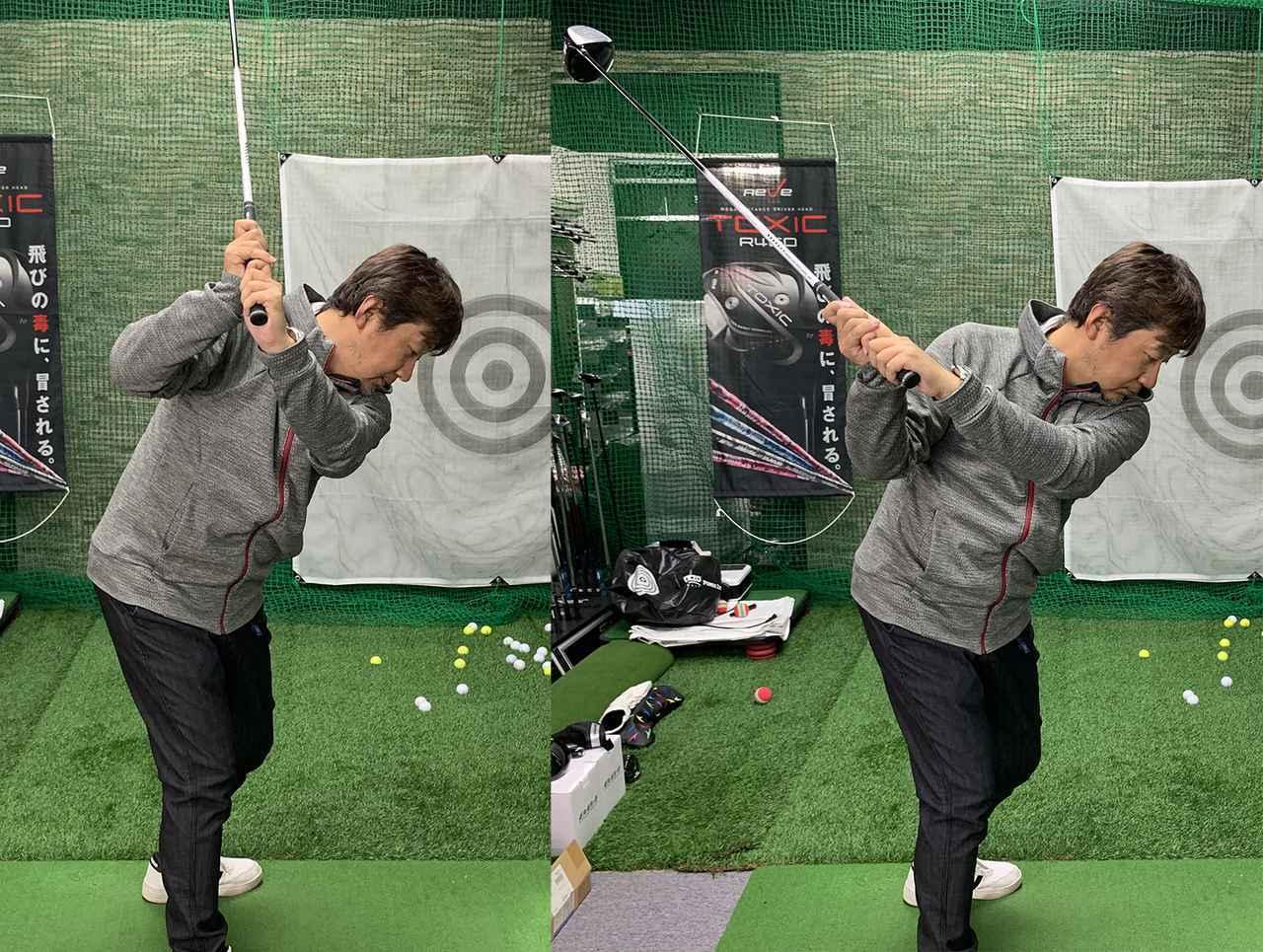画像: 左肩を回していくと(左)右脇が空いてしまうのですが、右肩を後ろに動かしていくと(右)右脇の締まった良いトップになる