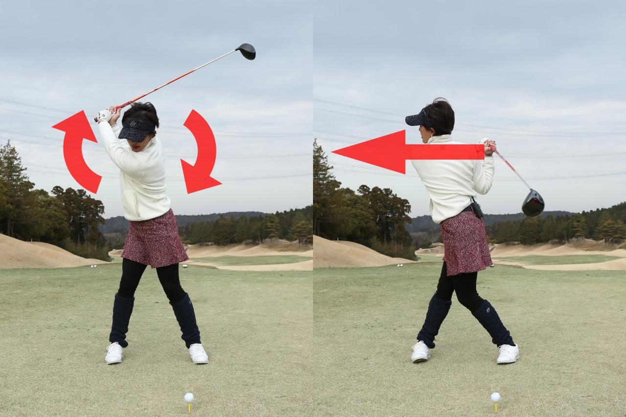 画像: 両肩はフラット(右)ではなく、タテに回そう(左)