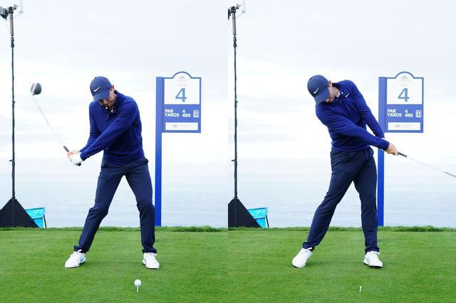 画像: 画像C:筋肉が縮む動きを使って体を回転させてクラブを引き下ろし(写真左)、インパクトでは脚を伸ばすことでヘッドを加速させる(写真右)(写真は2020年のファーマーズインシュランスオープン 撮影/姉崎正)