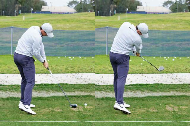 画像: 画像D:足裏の圧はターゲットラインの斜め左方向に向き、実際の出球はターゲットラインより右。それにより飛ばしている(写真は2020年のファーマーズインシュランスオープン 撮影/姉崎正)