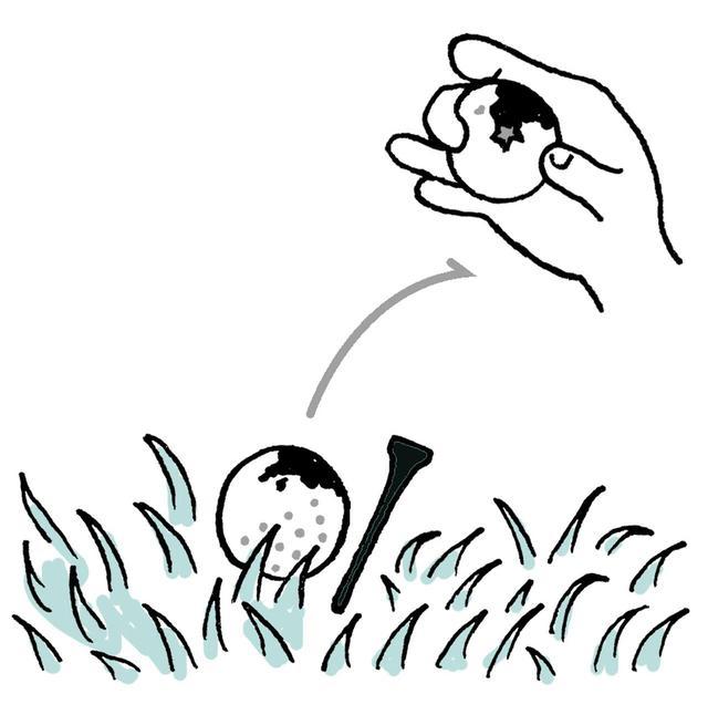 画像: 自分の球か確認のため拾い上げる際は必要以上に泥などふいてはいけない。