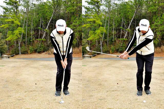 画像: 画像B:クラブの重心点を意識して、両肩と手元、ヘッドの位置関係をキープするようにテークバック