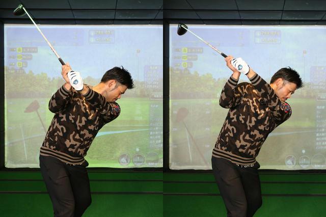 画像: 左がウィーク、右がフックで握った場合のトップ位置。フックで握ると左手の平は甲側に折れ曲がることなく、一直線の状態をキープできている