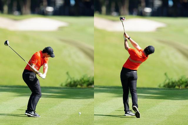 画像: ダウンで右肩が開かないドローヒッターのマキロイ 。フォローでは左肩の延長線上か、やや上をクラブが抜けていく(写真は2019年のZOZOチャンピオンシップ 撮影/姉崎正)
