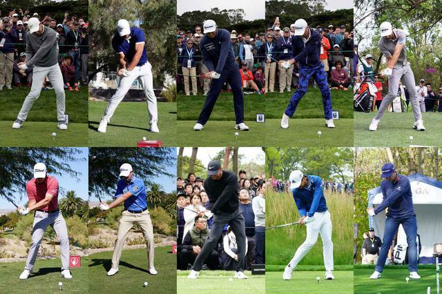 画像: 画像左上からマキロイ 、ケプカ、ラーム、トーマス、ジョンソン、カントレー、シンプソン、タイガー、シャウフェレ、ローズ。体格も球筋も異なれどインパクト直前「スロット」のポジションではみんなよく似てる