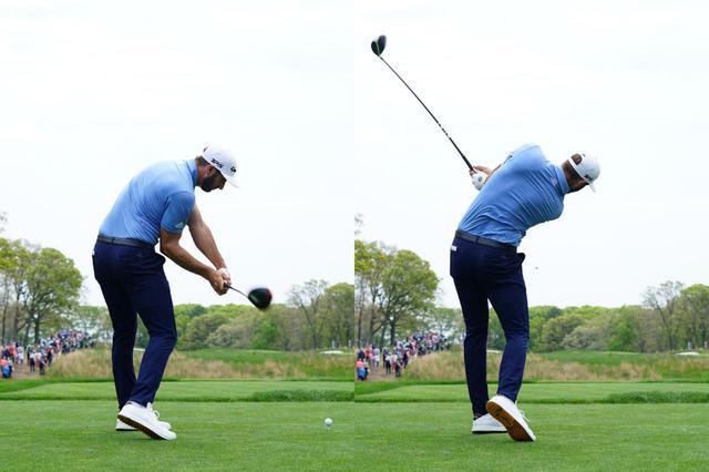 画像: 左から右に曲がる球が持ち球のDJ。マキロイと比較するとダウンでは右肩が早く開き、フォローではクラブヘッドが左肩より低い位置に抜けていっているのがわかる(写真は2019年の全米プロゴルフ選手権 撮影/姉崎正)